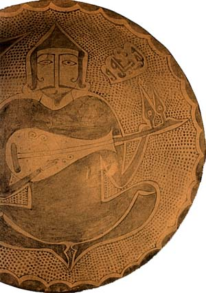 Man playing on oud. 10th-century Egyptian ceramics