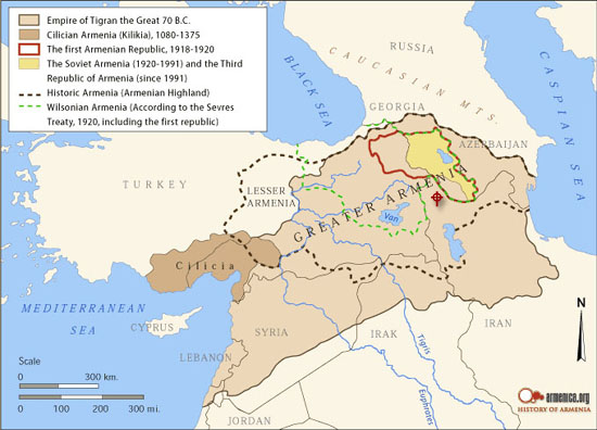 Map: The changing borders of Armenia in the past two thousand years