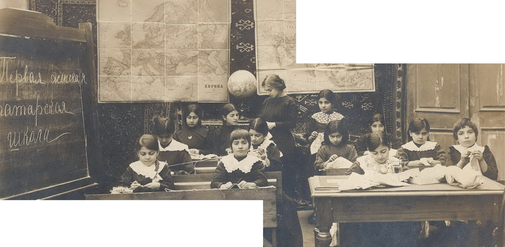 The text on the blackboard in this photo taken in 1911 says