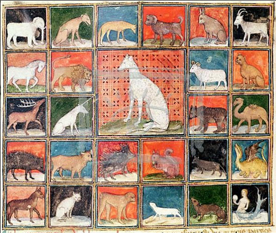 "Four-legged animals from Bartholomaeus Anglicus' ""Le Livre des Proprietés des Choses"", translated by Jean Cordichon, 14th c. Reims, Bibl. Municipale Ms. 993 fol. 254v."