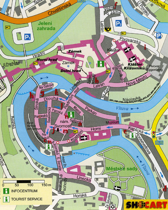 Český Krumlov, map of inns, pubs & restaurants, 2008