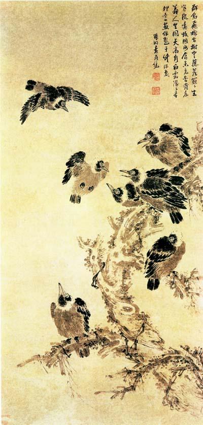 Yuan Shangtong (1570-1661), Csókák, tusrajz, Nanjingi Múzeum