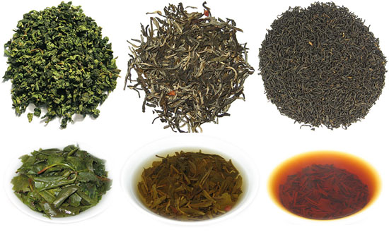 Háromfajta tea Kam internetes boltjából, Hongkong, Kína: Qi Men Red, Tie Guan Yi King, Jázmin (Xian Pian)