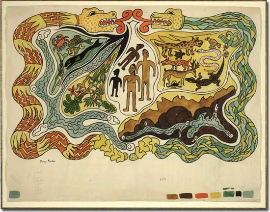 Diego Rivera (1886-1957): The Creation. Illustration to Popol Vuh, c. 1931