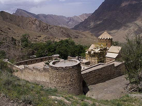 The medieval Armenian monastery of Saint Stephen in Northern Iran, in the valley of the Araxes
