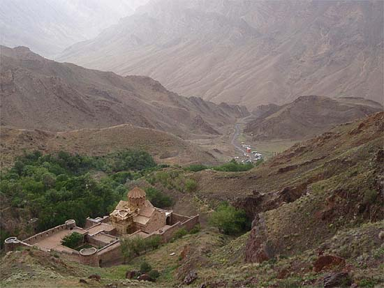 The medieval Armenian monastery of Saint Stephen in Northern Iran, in the valley of the Araxes/Aras