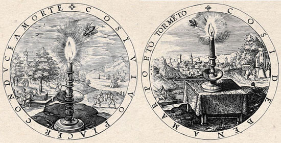 Gabriel Rollenhagen, Nucleus emblematum, 1611, emblems with candle and butterfly