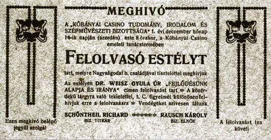 Kőbánya, Casino, invitation to a scientific lecture