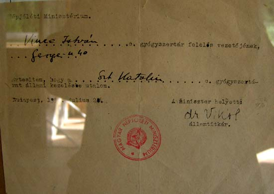 Budapest, Kőbánya, Saint Catherine pharmacy, notification of nationalization, 1950