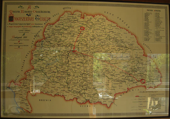 Budapest, Kőbánya, Pataky István Cultural Center, exhibition on the Saint Catherine pharmacy: The map of pharmacies of the Lands of the Hungarian Crown, 1888