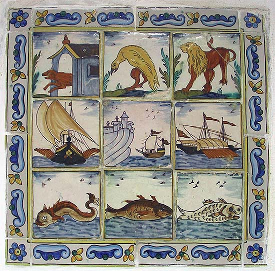 The Monastery of Santa María de La Real in Mallorca, Renaissance tiles in the library