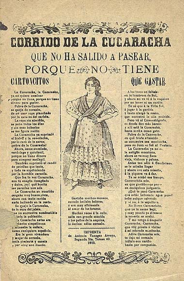 Mexico, Revolution. Song sheet of the corrido La Cucaracha