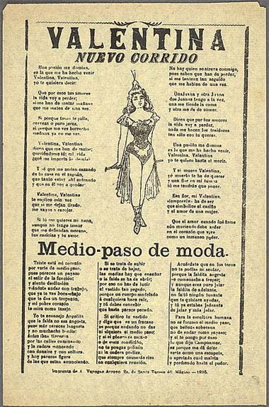 "Song sheet of the corrido ""Valentina"", Mexico, 1915"