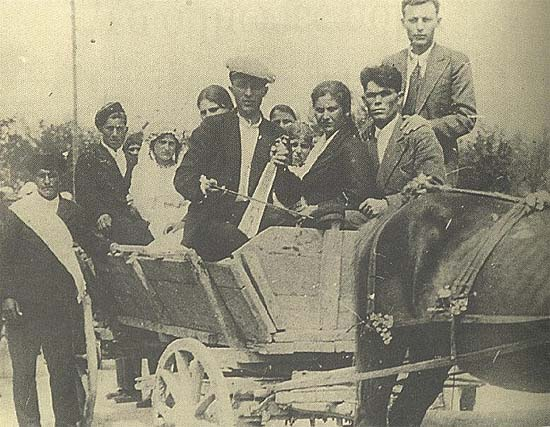 Pontic Greek lyra/kamanche player on a wedding car