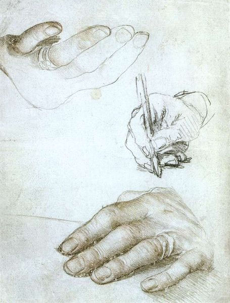 Studies of Erasmus' hands by Hans Holbein the Younger, 1523