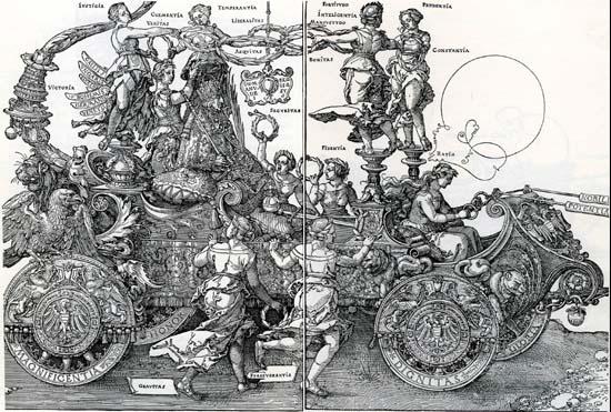 Dürer, I. Miksa győzelmi menete