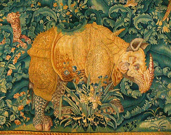 The rhinoceros of Dürer on a Netherlandish gobelin in the Kronborg Castle, 1550