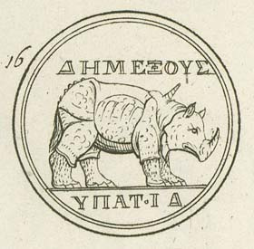 Andreas Morellius, golden coin of Domitian with the image of a rhinoceros, A.D. 88