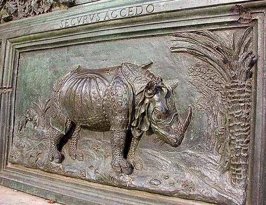 Pisa, Cathedral, detail of the bronze door with the rhinoceros of Dürer