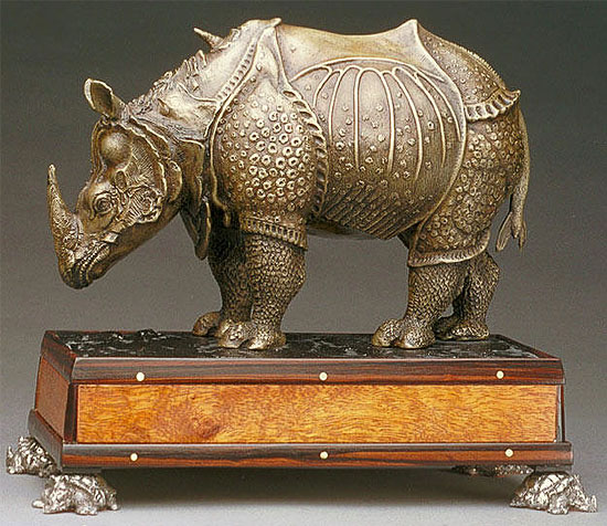 The rhinoceros of Dürer, statuette by Michael Speaker