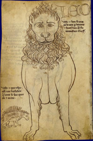 "Lion drawn ""after nature"" from the sketch book of Villard de Honnecourt (13th century)"