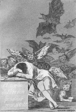 Goya, Caprichos 43, The Sleep of Reason Produces Monsters