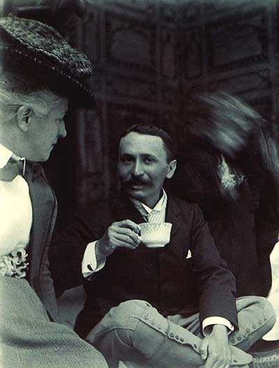 Aurél Stein drinking tea in India