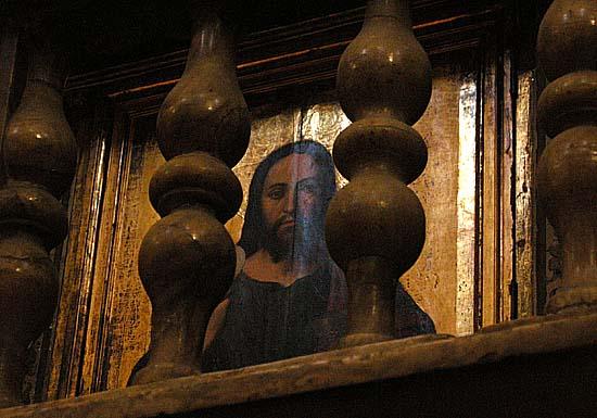 Valencia, Eucharisztiát felmutató Krisztus képe a székesegyházban