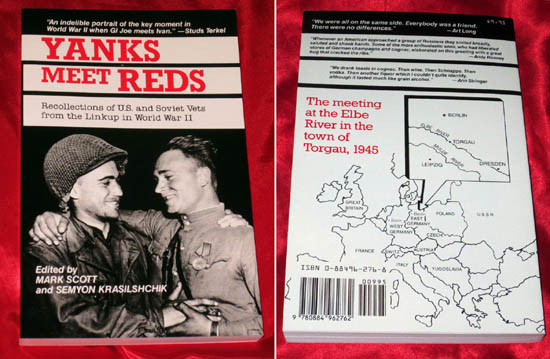 "Cubierta del libro ""Yanks meet Reds: recollections of U.S. and Soviet vets from the linkup in World War II"". Capra Press, Agosto de 1988. Fuente: ebay.com"
