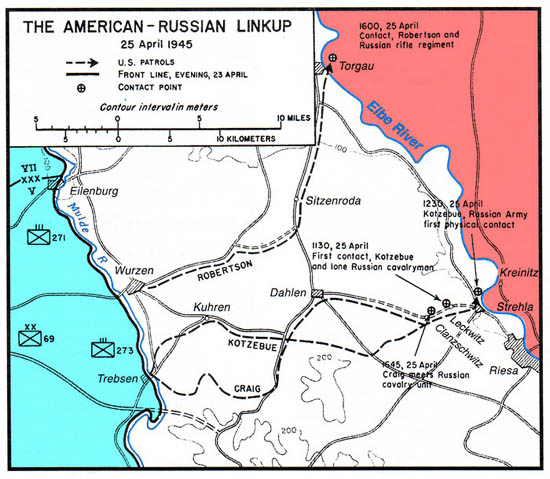 Map of the three Elbe Day link ups. Source: The Fighting 69th Infantry Division Website